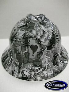 White High Stakes Pattern Full Brim New Custom Msa V gard Hard Hat W fastrac