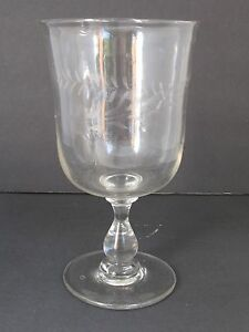 Antique 18th 19th C Large Hand Blown Clear Glass Stem Vase Or Goblet