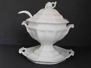 Antique White Ironstone Grape Pattern Soup Tureen With Under Plate And Ladle