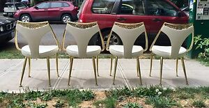 Reduced Virtue Brothers Mid Century Chairs Rhinestones Brass Table Leaves