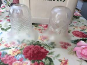 2 Vintage Bell Shaped Cut Glass Oil Gas Mantle Inverted Hurricane Lamp Shades