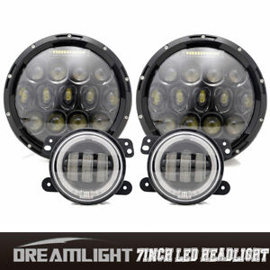 7 Led Headlight With Turn Signal 4 Led Fog Lights With Ring Jeep Wrangler