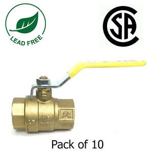3 4 Ips Full Port Brass Ball Valve Csa Approved 600 Wog Lf Threaded Pack Of 10