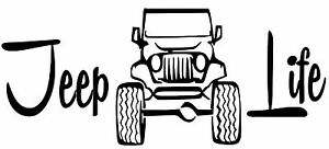 Jeep Life 4x4 Logo Funny Tj Cj Wrangler Offroad Car Decal Window Sticker Vinyl