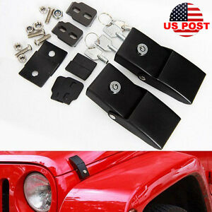 Unlimited Steel Locking Hood Lock Catch Latches Pair For Jeep Wrangler Jk 07 18