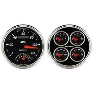 Autometer Black Ii 2 Gauge Set W 5 Speedo Quad Oil Press water Temp volt fuel