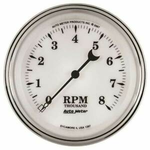 Autometer Old Tyme White Ii 3 3 8 In dash Tachometer 0 8000 Rpm Gauge