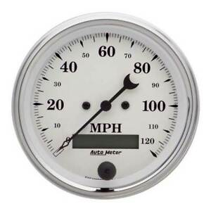 Autometer Old Tyme White 3 3 8 Electric Speedometer 0 120 Mph Gauge