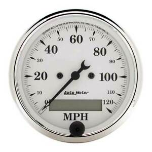 Autometer Old Tyme White 3 1 8 Electric Speedometer 0 120 Mph Gauge