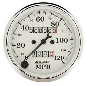 Autometer Old Tyme White 3 1 8 Mechanical Speedometer 0 120 Mph Gauge
