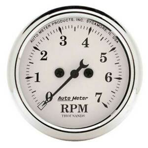 Autometer Old Tyme White 2 1 16 In dash Tachometer 0 7000 Rpm Gauge