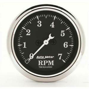 Autometer Old Tyme Black 2 1 16 In dash Tachometer 0 7 000 Rpm Gauge