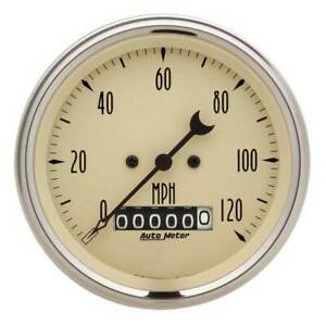 Autometer Antique Beige 3 3 8 Mechanical Speedometer 0 120 Mph Gauge
