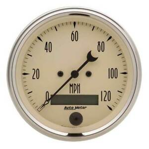 Autometer Antique Beige 3 3 8 Electric Speedometer 0 120 Mph Gauge