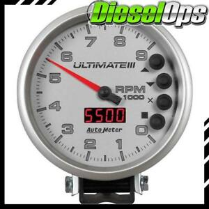 Autometer Ultimate Iii 5 Playback Tachometer 0 9000 Rpm White Gauge