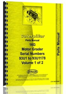 Caterpillar 16g Grader Parts Manual s n 93u1 93u1178
