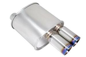 Megan Racing 3 F Rt Dual Burnt Stainless Roll Tips Universal Muffler 2 5 Inlet