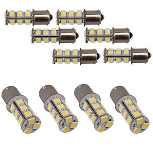 Ten Ba15s 18 Leds Natural White Bulb For 1156 1141 Rv Interior Porch