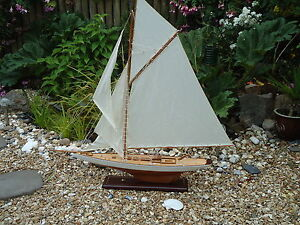 Large Model Lulworth Yacht 95cm On Stand Hand Made Wooden Maritime Ship Boat