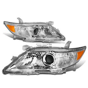 Fit 2010 2011 Toyota Camry Chrome Housing Amber Corner Projector Headlight Lamp