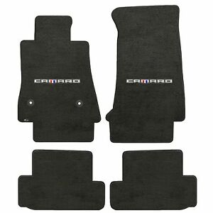Camaro 2016 4pc Car Floor Mats Carpet Black Ebony Velourtex Camaro Word Logo