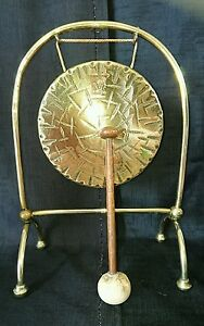 Antique Edwardian Burmese Brass Gong With Wooden Mallet