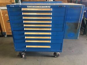 10 drawer Tool Storage Rolling Cabinet With Side Compartment Used