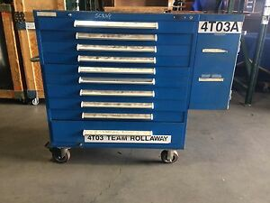 10 drawer Tool Storage Rolling Cabinet W Side Compartment Used 4to3a