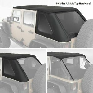 Black Bowless Top All In One Hardware Soft Top 07 18 For Jeep Wrangler Unlimited