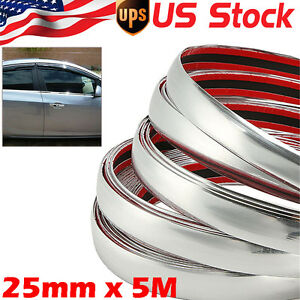 25mm X 5m Car Chrome Moulding Trim Strip Door Edge Scratch Guard Protector Strip