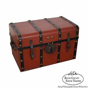 Antique 19th Century Red Painted Leather Strap Traveling Trunk John Baker