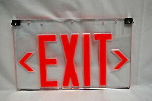 Emergi lite Emergency Exit Sign Panel Only With Clips Red clear new s7481