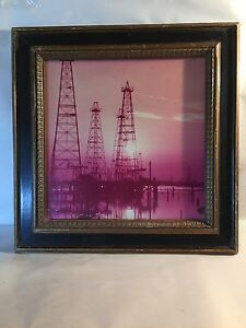 19 X 19 Oilfield Coastal Rig Picture photo In Slightly Damaged Frame