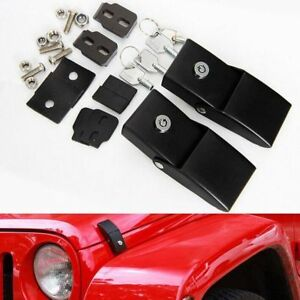 Upgrade Black Locking Hood Catch Kit For Jeep Wrangler Jk Unlimited 07 18