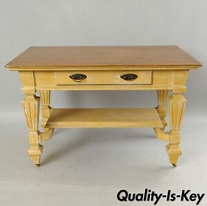 Antique Golden Oak Desk Hall Table Console Mission Arts Crafts One Drawer