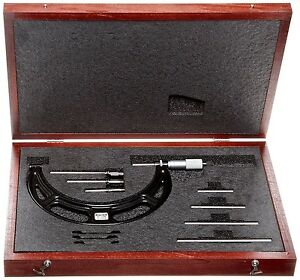 Starrett Interchangeable Anvil Metric Outside Micrometer Set 0 100mm 0 01mm