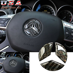 49mm Carbon Fiber Steering Wheel Center Logo Sticker Trim For Mercedes Benz