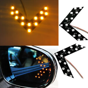2x Amber 14 Smd Led Arrow Lights For Side Mirror Turn Signal Blinker Retrofit
