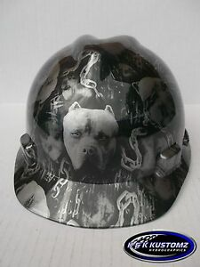 American Bully Pattern Short Brim New Custom Msa V gard Hard Hat W fas trac