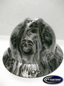 Silver Three Evil Pattern Full Brim New Custom Msa V gard Hard Hat W fastrac