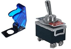 1 Pc Dpst Safety Toggle Switch 20amp 125vac W trans blue Cover 66 1804 66 5019