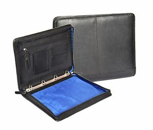 Zip Around Folio Black Leather A4 Paper Binder Organiser Underarm Conference Bag