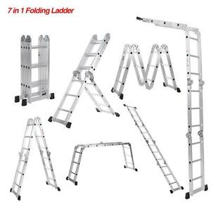 Aluminum Step Ladder Work Platform Extension Scaffold Non slip Durable