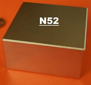 Block 2 X 2 X 1 Inch Super Strong N52 High Quality Rare Neo Magnet Neodymium