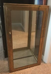 Antique Display Case Show Case Metal Trim Double Thick Glass Heavy Sturdy Rustic
