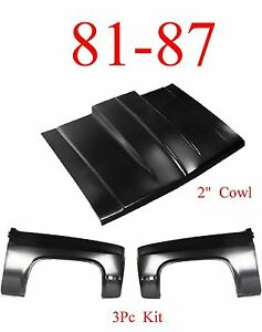 3pc Kit 81 87 Cowl Hood 2 Fender Set Chevy Gmc Truck Steel Bolt On W Latch