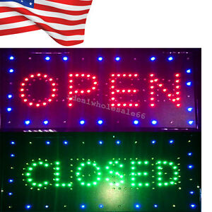us 2in1 Open closed Led Sign Store Shop Business Display Neon Light 9 8 20 47