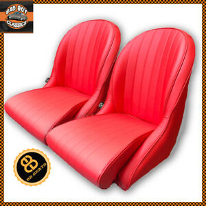 Pair Red Bb Vintage Classic Retro Car Bucket Seats Bomber Style Rounded Backs