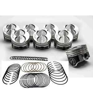 Ford 351w 5 8l Speed Pro Hypereutectic Flat Top Pistons Cast Rings 030 Oversize