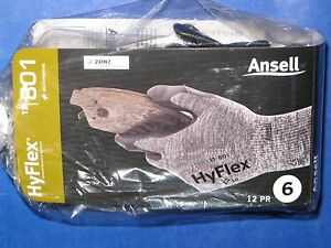 Ansell Hyflex 11 801 Gloves Nitrile Foam Coated Palm 12 Pair Size 6